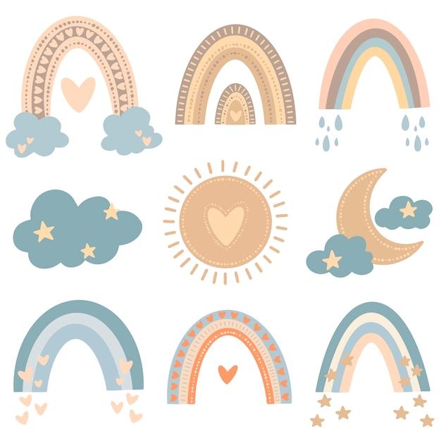 Ilustración de vector plano de arco iris de dibujos animados lindo en estilo doodle de color. conjunto de ilustración del tiempo. Vector Premium