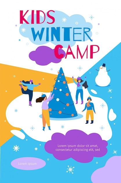 Ilustración de vector plano campamento de invierno de niños Vector Premium
