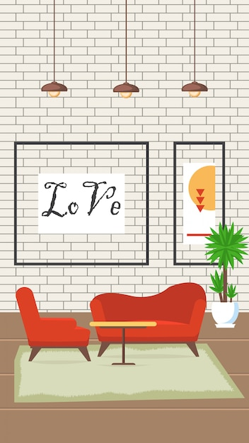 Ilustración de vector plano de diseño de sala de estar Vector Premium