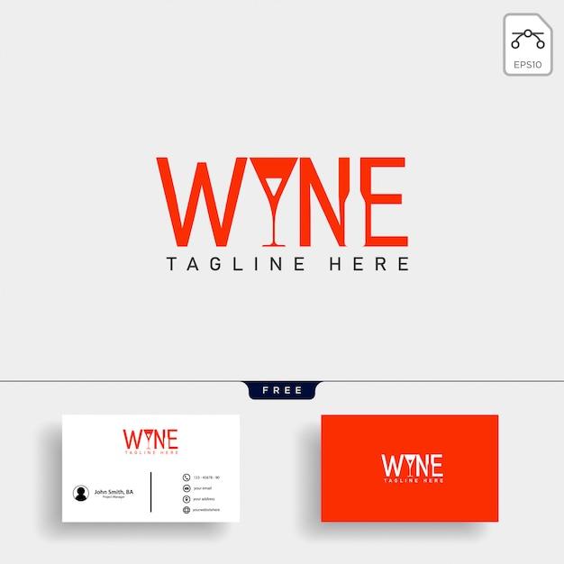 Ilustración de vector de plantilla de logotipo tipo vino y bar Vector Premium