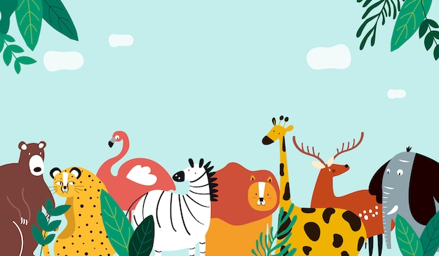 Ilustración de vector de plantilla de tema de animales vector gratuito