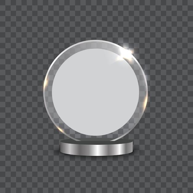 Ilustración de vector de premio trofeo de cristal Vector Premium