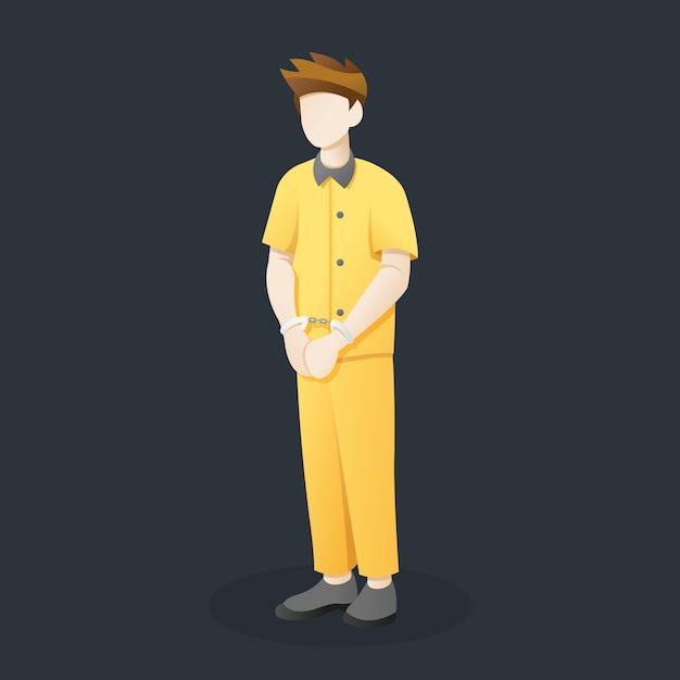 Ilustración de vector prisionero con manos esposadas Vector Premium