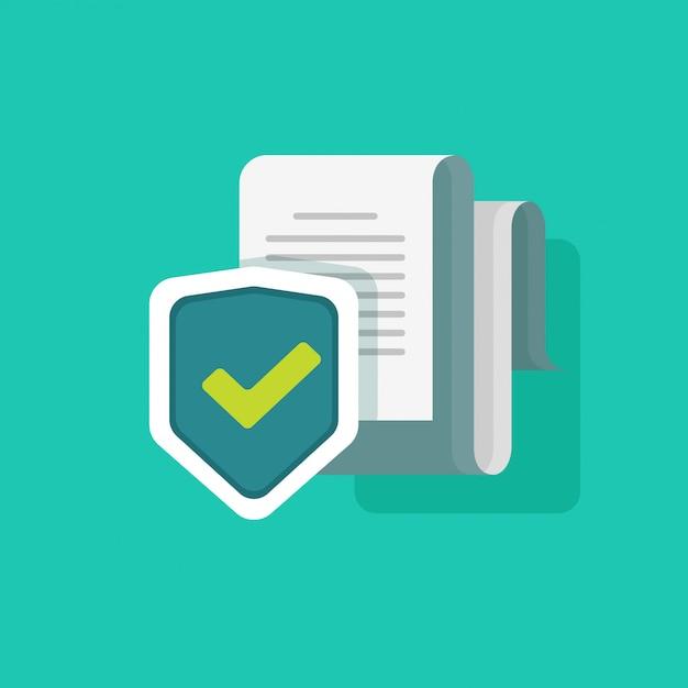 Ilustración de vector de protección de documentos o información de seguridad Vector Premium