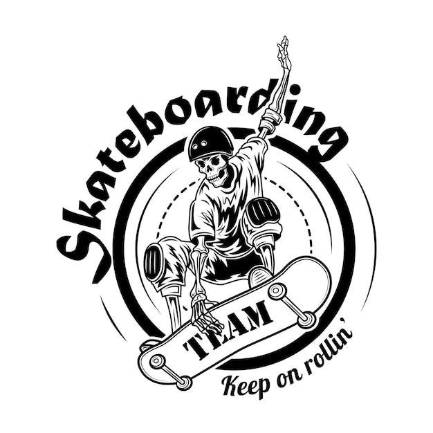 Ilustración de vector de símbolo de equipo de skate. esqueleto en casco en patineta en salto y texto vector gratuito