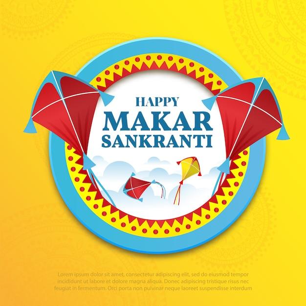 Ilustración de vector sobre el tema happy makar sankranti Vector Premium