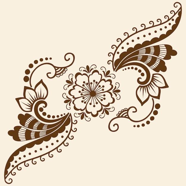 Ilustración vectorial de adorno mehndi. estilo indio tradicional ...