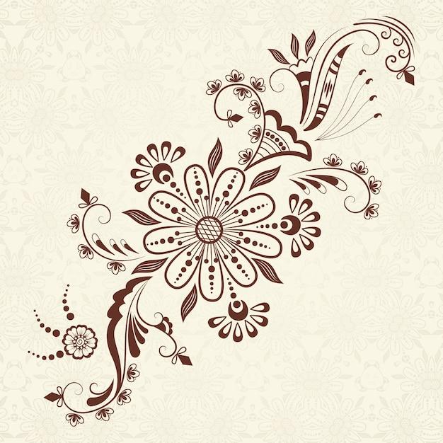 Ilustración vectorial de adorno mehndi. estilo indio tradicional, elementos florales ornamentales para el tatuaje de la alheña, las etiquetas engomadas, el mehndi y el diseño de la yoga, las tarjetas y las impresiones. ilustración floral abstracta del vector. vector gratuito