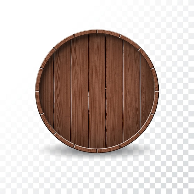 Ilustración vectorial con aislado barril de madera sobre fondo transparente. Vector Premium
