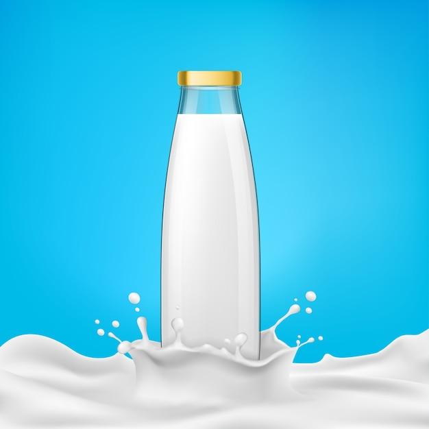 Ilustración vectorial botellas de vidrio con leche o productos lácteos se encuentra en un salpicadero de leche vector gratuito