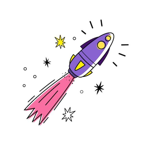 Ilustración vectorial de cohete espacial y estrellas. Vector Premium