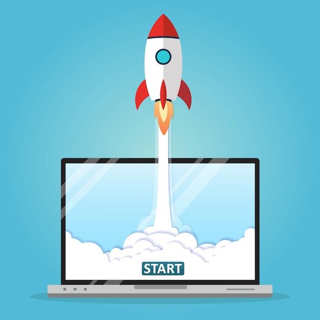 Ilustración vectorial concepto lanzamiento de cohete Vector Premium