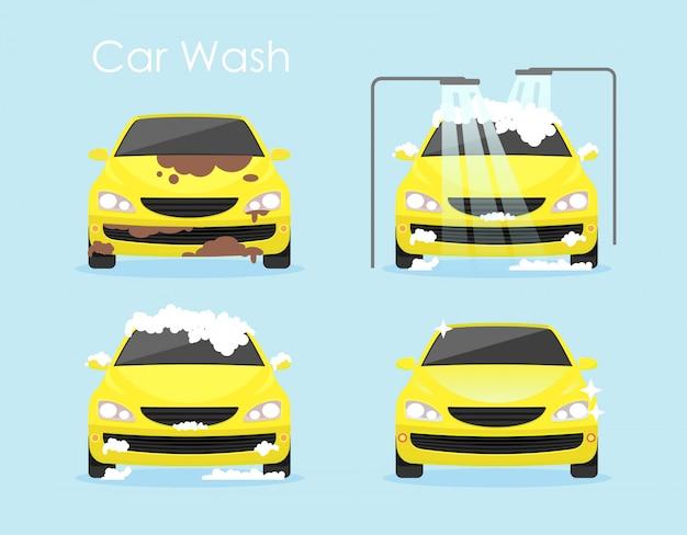 Ilustración vectorial del concepto de lavado de coches. el coche amarillo colorido está limpiando paso a paso en fondo azul en estilo plano de la historieta. Vector Premium