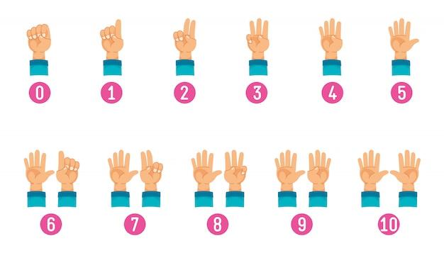 Ilustración vectorial de contar la mano Vector Premium
