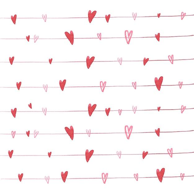Ilustración vectorial de corazones de color rojo en el patrón de ...
