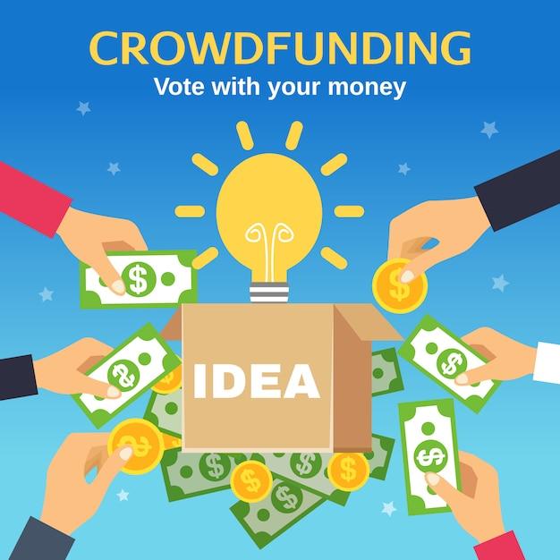 Ilustración vectorial de crowdfunding vector gratuito