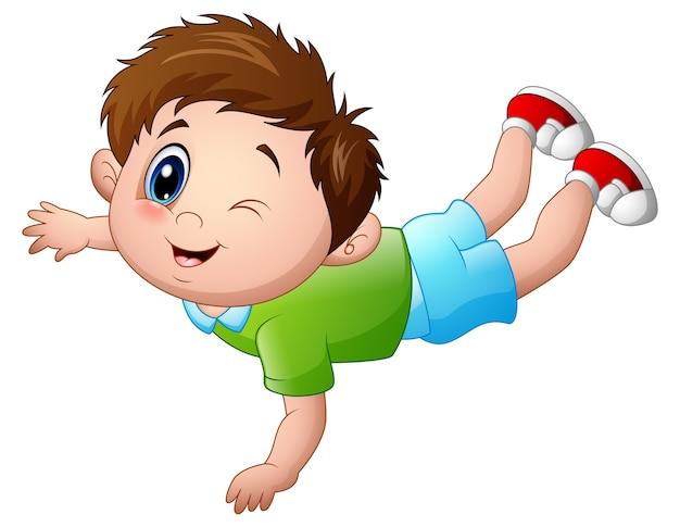 Ilustración vectorial de cute little boy cartoon propenso