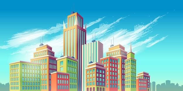 Ilustración vectorial de dibujos animados, bandera, fondo urbano con grandes edificios modernos de la ciudad vector gratuito
