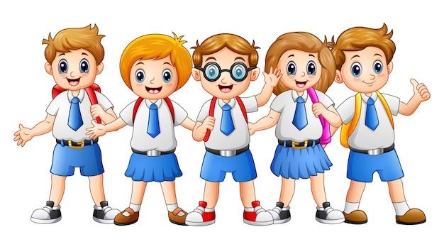 Dibujos Caras De Niños Felices Animadas: Ilustración Vectorial De Dibujos Animados De Niños