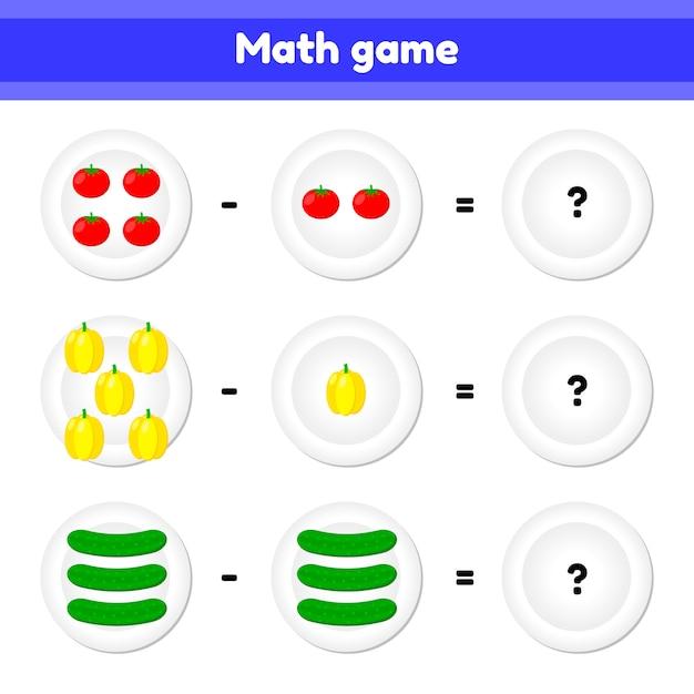 Ilustracion vectorial educativo un juego matemático. tarea lógica para niños. sustracción. vegetales. tomate, pimiento, pepino Vector Premium