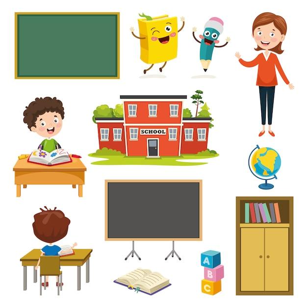 Ilustración vectorial de elementos de educación Vector Premium