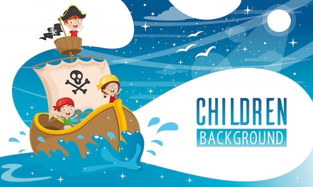 Ilustración vectorial de fondo de los niños Vector Premium