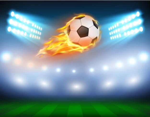 Ilustración vectorial de un fútbol en una llama ardiente. vector gratuito