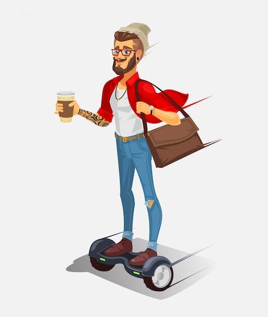Ilustración vectorial de un hipster fresco vector gratuito