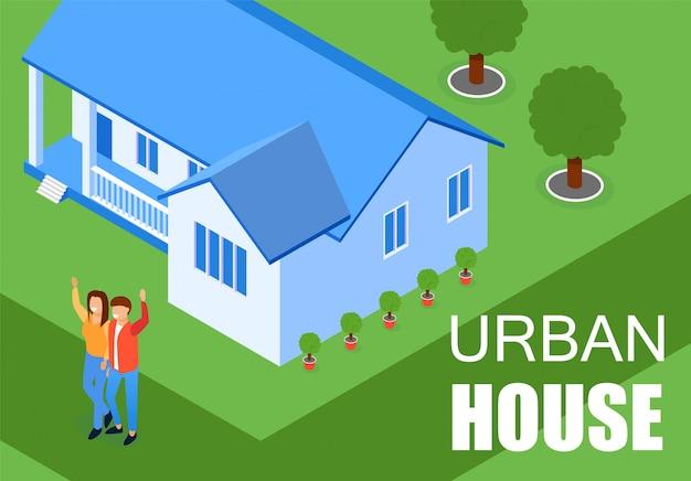 Ilustración vectorial inscripción urban house flat. Vector Premium