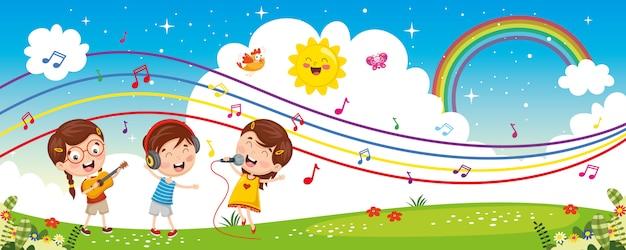Ilustración vectorial de música para niños Vector Premium