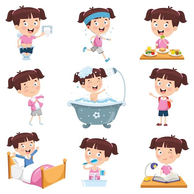 Ilustración vectorial de niña de dibujos animados haciendo diversas actividades Vector Premium