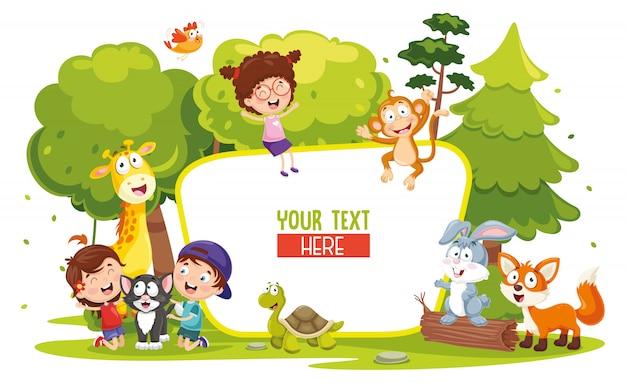 Ilustración vectorial de niños y animales Vector Premium