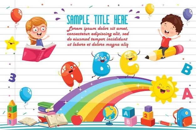 Ilustración vectorial de los niños del arco iris Vector Premium