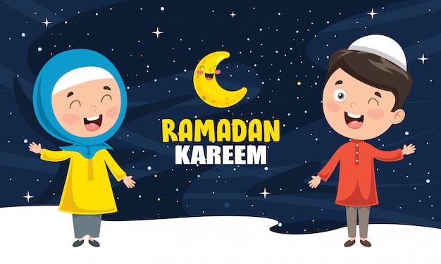 Ilustración vectorial de niños musulmanes que celebran el ramadán Vector Premium