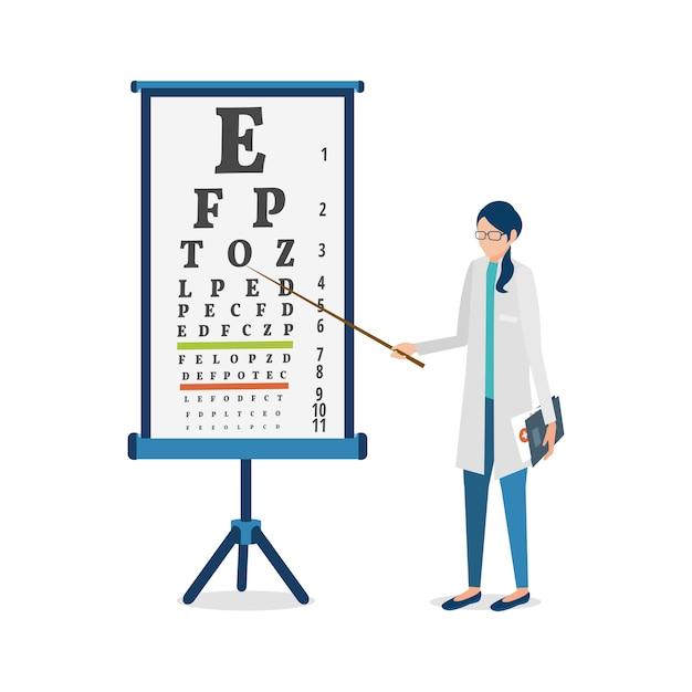 Ilustracion vectorial oftalmólogo y cuadro de agudeza visual. Vector Premium