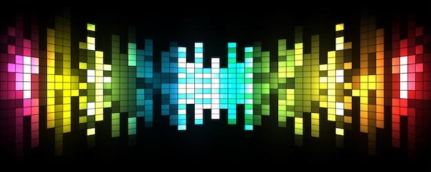 Ilustración vectorial de las ondas de sonido abstracto brillante fiesta de fondo Vector Premium