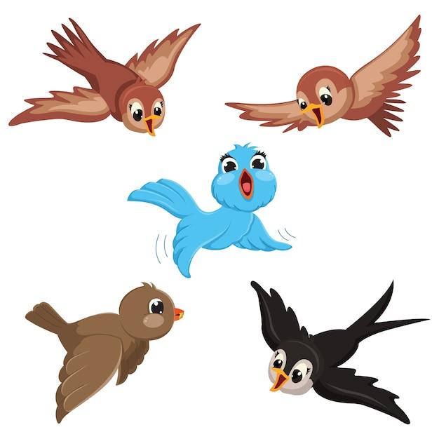 Ilustración Vectorial De Pájaros De Dibujos Animados