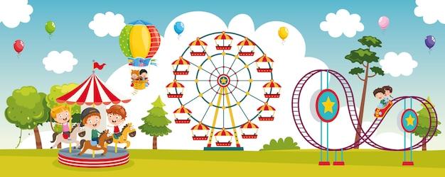 Ilustración vectorial del parque de atracciones Vector Premium