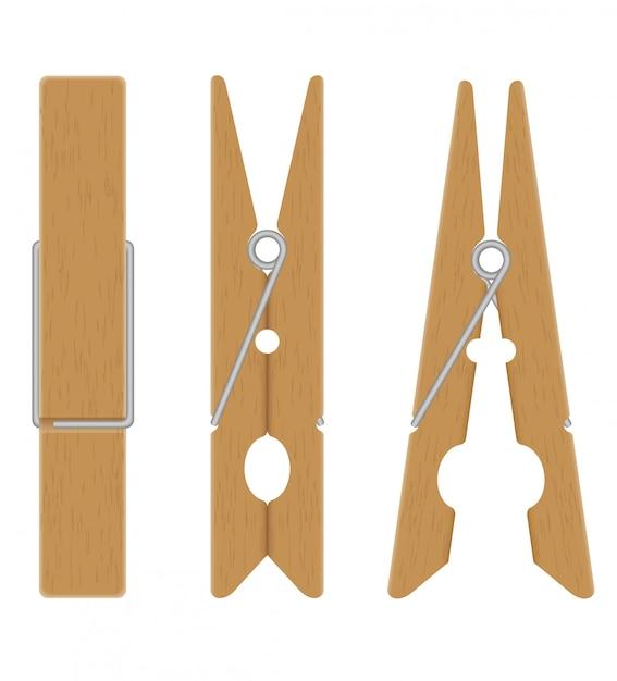 Ilustración vectorial de pinzas de madera Vector Premium