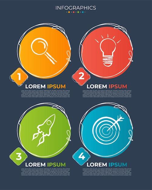 Ilustración vectorial plantilla de diseño de infografía con iconos y 4 opciones o pasos. vector gratuito