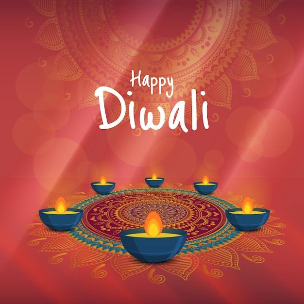 Ilustración vectorial sobre el tema de las vacaciones diwali. festival de luz y fuego deepavali. Vector Premium