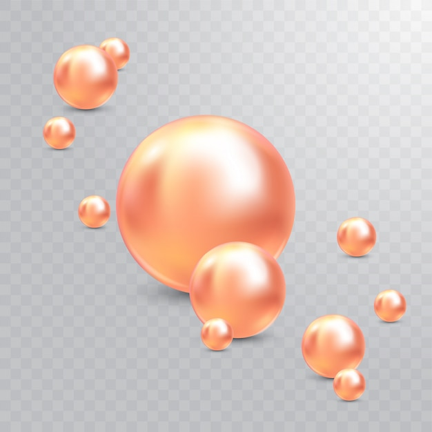 Ilustración vectorial para su diseño. joyas brillantes de lujo con perlas rosadas. hermosas perlas naturales brillantes. con resplandores transparentes y reflejos para deco Vector Premium