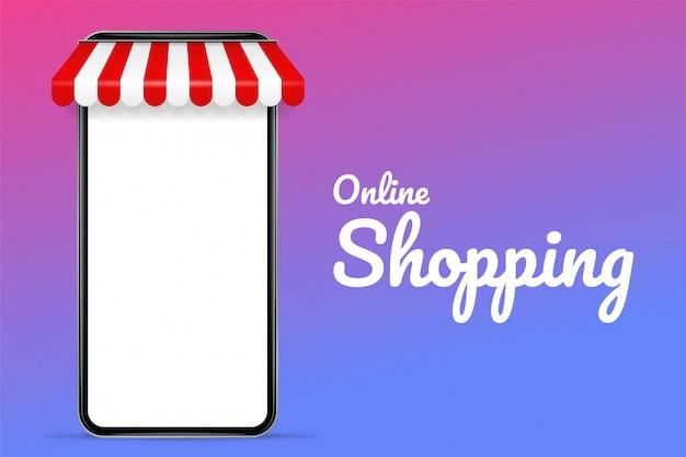 Ilustración vectorial de un teléfono móvil con techo. el concepto de compras en línea y venta de productos en línea. Vector Premium