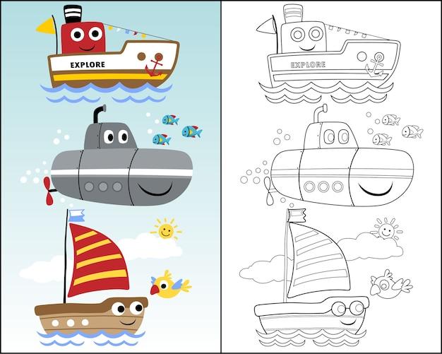 Ilustración vectorial con transporte marítimo divertido Vector Premium