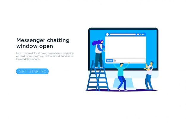 Ilustración de la ventana de messenger Vector Premium