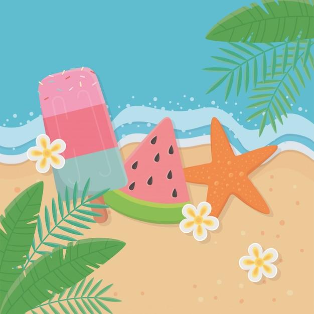 Ilustración de verano y vacaciones con diseño de elementos de ...
