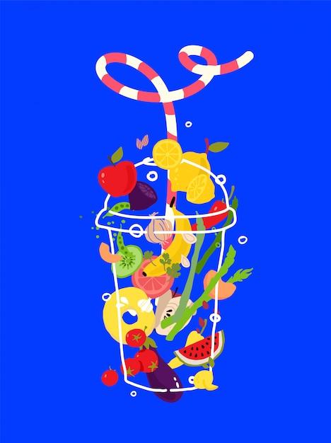 Ilustración de verduras y frutas en un vaso transparente. Vector Premium