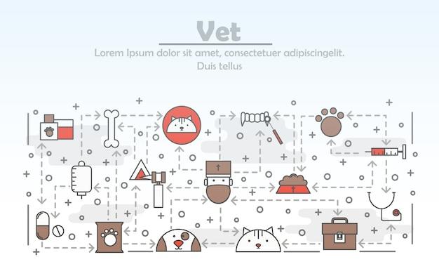 Ilustración de veterinario de arte de línea delgada de vector Vector Premium