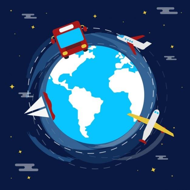Ilustración de viaje en diseño plano vector gratuito