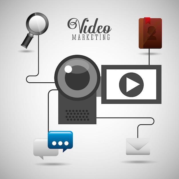 Ilustración de video marketing con dispositivos e íconos de redes sociales vector gratuito